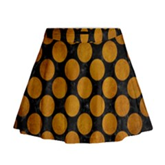 Circles2 Black Marble & Yellow Grunge (r) Mini Flare Skirt