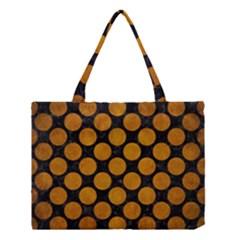 Circles2 Black Marble & Yellow Grunge (r) Medium Tote Bag