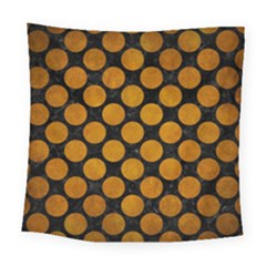 Circles2 Black Marble & Yellow Grunge (r) Square Tapestry (large)