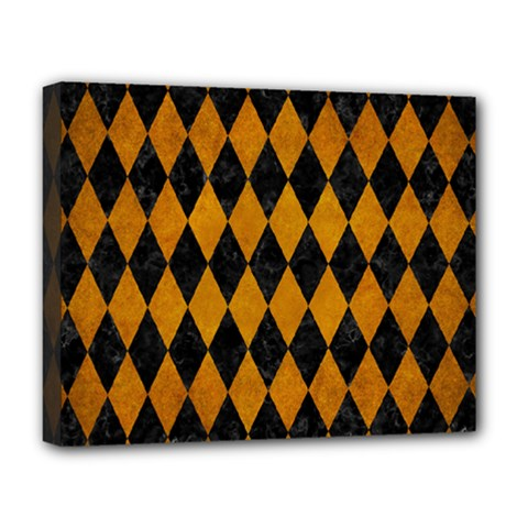 Diamond1 Black Marble & Yellow Grunge Deluxe Canvas 20  X 16