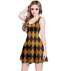 Diamond1 Black Marble & Yellow Grunge Reversible Sleeveless Dress