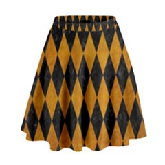 Diamond1 Black Marble & Yellow Grunge High Waist Skirt