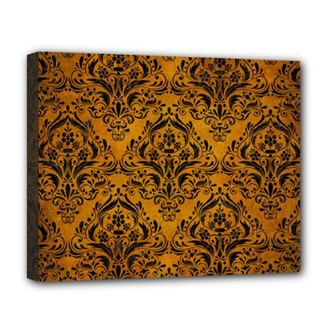 Damask1 Black Marble & Yellow Grunge Deluxe Canvas 20  X 16