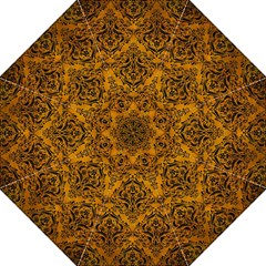 Damask1 Black Marble & Yellow Grunge Golf Umbrellas