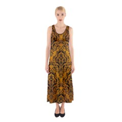 Damask1 Black Marble & Yellow Grunge Sleeveless Maxi Dress