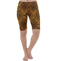 Damask1 Black Marble & Yellow Grunge Cropped Leggings