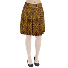 Damask1 Black Marble & Yellow Grunge Pleated Skirt