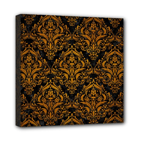 Damask1 Black Marble & Yellow Grunge (r) Mini Canvas 8  X 8
