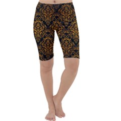 Damask1 Black Marble & Yellow Grunge (r) Cropped Leggings