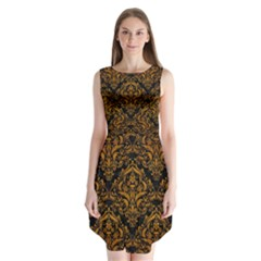 Damask1 Black Marble & Yellow Grunge (r) Sleeveless Chiffon Dress