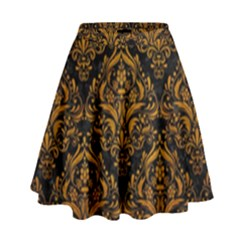 Damask1 Black Marble & Yellow Grunge (r) High Waist Skirt