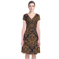 Damask1 Black Marble & Yellow Grunge (r) Short Sleeve Front Wrap Dress