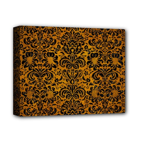 Damask2 Black Marble & Yellow Grunge Deluxe Canvas 14  X 11