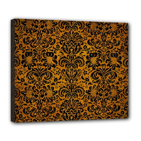 Damask2 Black Marble & Yellow Grunge Deluxe Canvas 24  X 20
