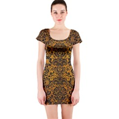 Damask2 Black Marble & Yellow Grunge Short Sleeve Bodycon Dress