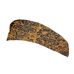 Damask2 Black Marble & Yellow Grunge Stretchable Headband