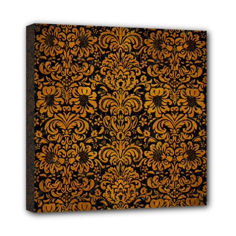 Damask2 Black Marble & Yellow Grunge (r) Mini Canvas 8  X 8