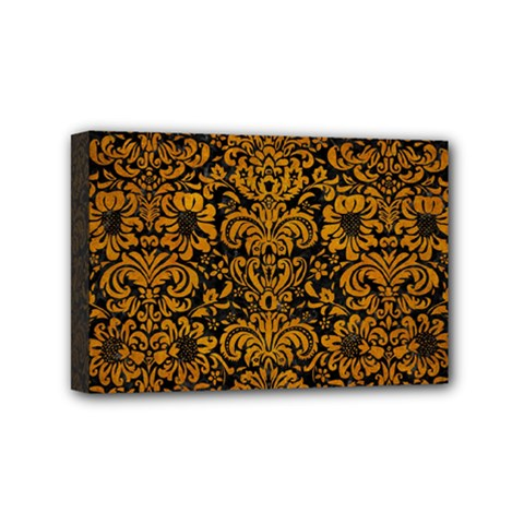 Damask2 Black Marble & Yellow Grunge (r) Mini Canvas 6  X 4