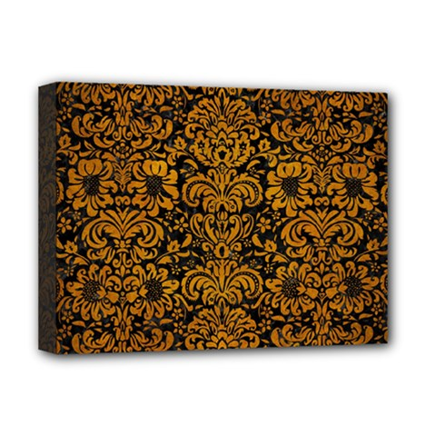Damask2 Black Marble & Yellow Grunge (r) Deluxe Canvas 16  X 12