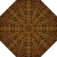 Damask2 Black Marble & Yellow Grunge (r) Hook Handle Umbrellas (large)
