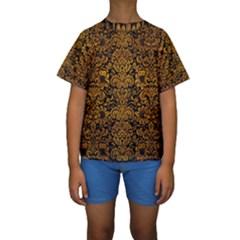 Damask2 Black Marble & Yellow Grunge (r) Kids  Short Sleeve Swimwear