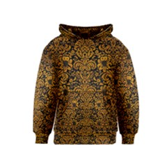 Damask2 Black Marble & Yellow Grunge (r) Kids  Pullover Hoodie