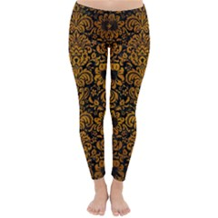 Damask2 Black Marble & Yellow Grunge (r) Classic Winter Leggings