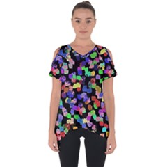 Colorful Paint Strokes On A Black Background                          Cut Out Side Drop Tee