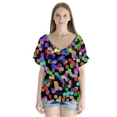 Colorful Paint Strokes On A Black Background                               V Neck Flutter Sleeve Top