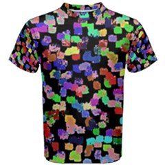 Colorful Paint Strokes On A Black Background                                Men s Cotton Tee