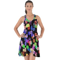 Colorful Paint Strokes On A Black Background                                   Show Some Back Chiffon Dress