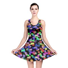 Colorful Paint Strokes On A Black Background                                Reversible Skater Dress