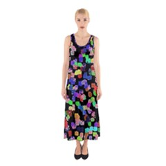 Colorful Paint Strokes On A Black Background                                Full Print Maxi Dress