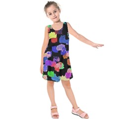 Colorful Paint Strokes On A Black Background                               Kid s Sleeveless Dress