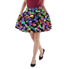 Colorful Paint Strokes On A Black Background                                A Line Pocket Skirt