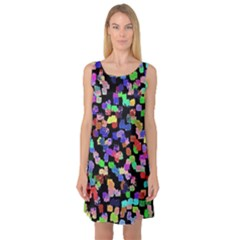 Colorful Paint Strokes On A Black Background                                Sleeveless Satin Nightdress