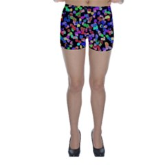Colorful Paint Strokes On A Black Background                                Skinny Shorts