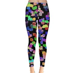 Colorful Paint Strokes On A Black Background                                Leggings