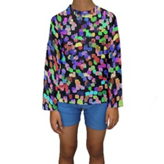 Colorful Paint Strokes On A Black Background                                 Kid s Long Sleeve Swimwear