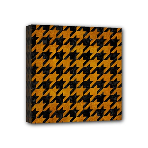 Houndstooth1 Black Marble & Yellow Grunge Mini Canvas 4  X 4