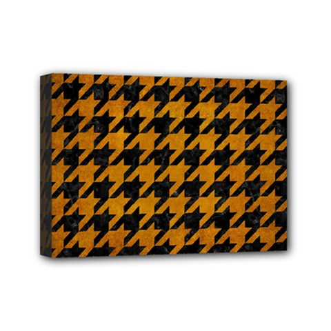 Houndstooth1 Black Marble & Yellow Grunge Mini Canvas 7  X 5