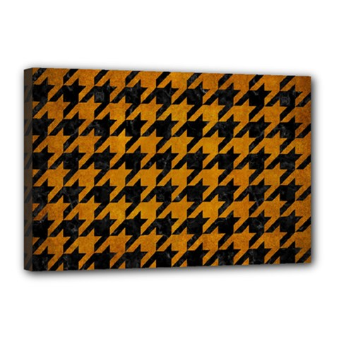 Houndstooth1 Black Marble & Yellow Grunge Canvas 18  X 12