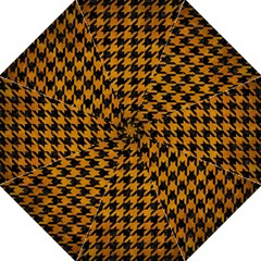 Houndstooth1 Black Marble & Yellow Grunge Folding Umbrellas