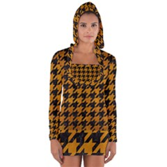 Houndstooth1 Black Marble & Yellow Grunge Long Sleeve Hooded T Shirt