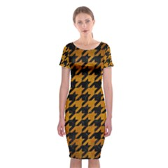 Houndstooth1 Black Marble & Yellow Grunge Classic Short Sleeve Midi Dress
