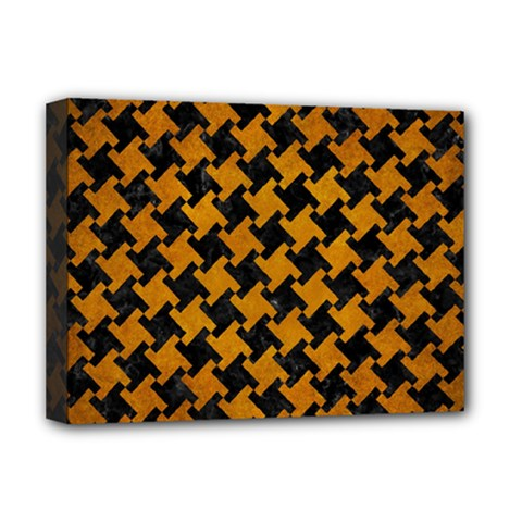 Houndstooth2 Black Marble & Yellow Grunge Deluxe Canvas 16  X 12
