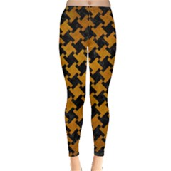 Houndstooth2 Black Marble & Yellow Grunge Leggings