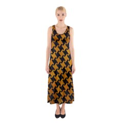 Houndstooth2 Black Marble & Yellow Grunge Sleeveless Maxi Dress