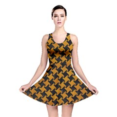 Houndstooth2 Black Marble & Yellow Grunge Reversible Skater Dress