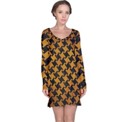Houndstooth2 Black Marble & Yellow Grunge Long Sleeve Nightdress